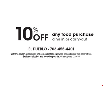 10%off any food purchase. Dine in or carry-out. With this coupon. Dine in only. One coupon per table. Not valid on holidays or with other offers. Excludes alcohol and weekly specials. Offer expires 12-9-16.