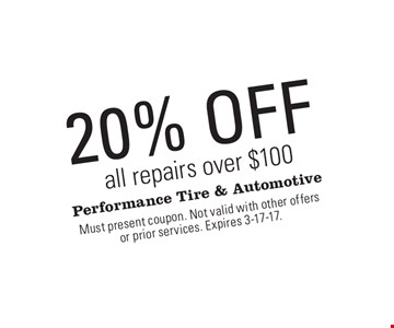 20% off all repairs over $100. Must present coupon. Not valid with other offers or prior services. Expires 3-17-17.