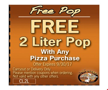 Free Delivery & 2-liter pop with any purchase