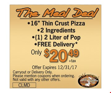 """16"""" Thin Crust Pizza with 2 Ingredients, 2 Liter of Pop, and FREE Delivery Only $20.49"""