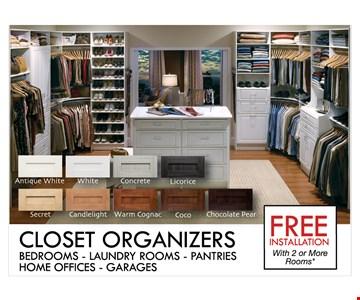 Closet Organizers Free installation