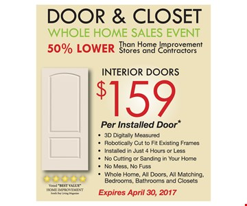 Interior Doors $159 Per Installed Door