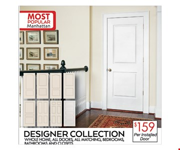 $159 per installed door - designer collection