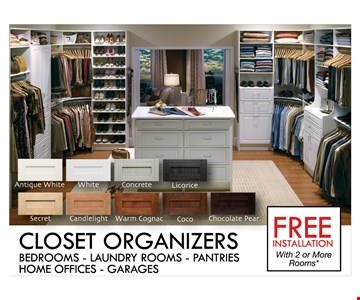 Free installation for closet organizers