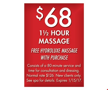 $68 1 1/2 hour massage.