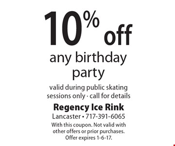 10% off any birthday party valid during public skating sessions only. Call for details. With this coupon. Not valid with other offers or prior purchases.Offer expires 1-6-17.