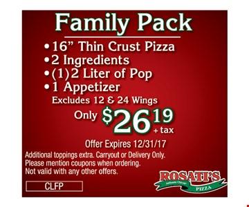 Family pack $26.19