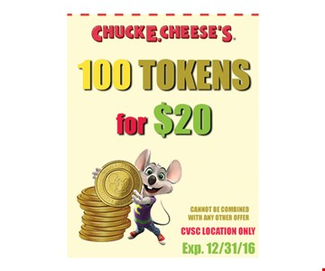 $20 for 100 tokens. With this coupon. Cannot be combined with any other offer. CVSC location only. Expires 12/31/16.