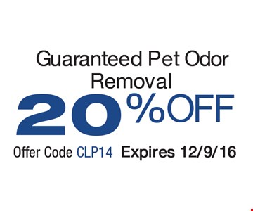 20% off Guaranteed pet odor removal
