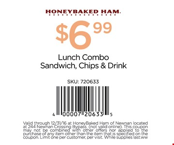$6.99 Lunch Combo Sandwich, Chips & Drink