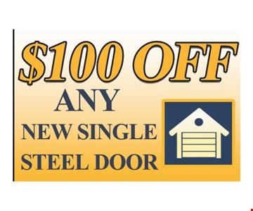 $100 off any new single steel door