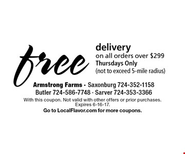 free delivery on all orders over $299 Thursdays Only (not to exceed 5-mile radius). With this coupon. Not valid with other offers or prior purchases.