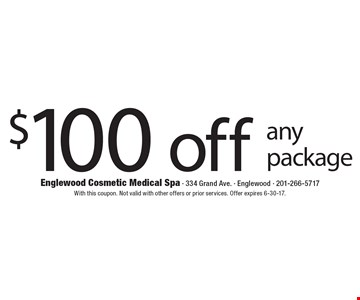 $100 off any package. With this coupon. Not valid with other offers or prior services. Offer expires 6-30-17.