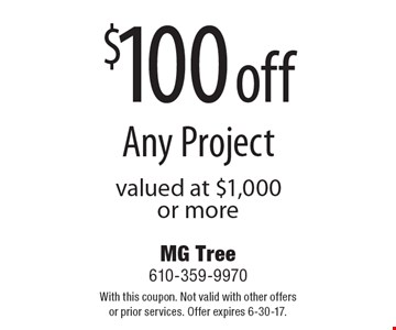 $100 off Any Project valued at $1,000 or more. With this coupon. Not valid with other offers or prior services. Offer expires 6-30-17.