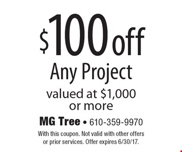 $100 off Any Project valued at $1,000 or more. With this coupon. Not valid with other offers or prior services. Offer expires 6/30/17.