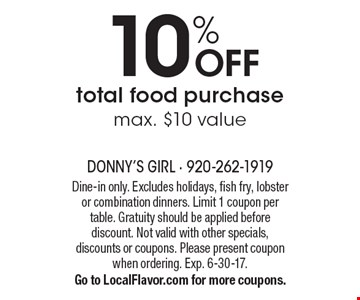 10% OFF total food purchase. Max. $10 value. Dine-in only. Excludes holidays, fish fry, lobster or combination dinners. Limit 1 coupon per table. Gratuity should be applied before discount. Not valid with other specials, discounts or coupons. Please present coupon when ordering. Exp. 6-30-17. Go to LocalFlavor.com for more coupons.