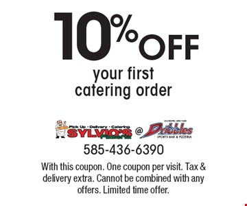 10% Off your first catering order. With this coupon. One coupon per visit. Tax & delivery extra. Cannot be combined with any offers. Limited time offer.