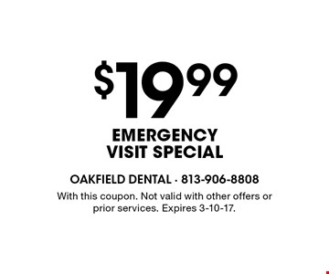 $19.99 EMERGENCY VISIT SPECIAL. With this coupon. Not valid with other offers or prior services. Expires 3-10-17.