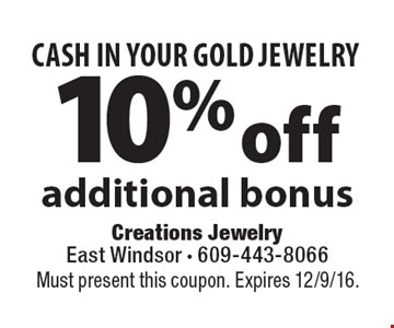 CASH IN YOUR GOLD JEWELRY 10% off additional bonus. Must present this coupon. Expires 12/9/16.