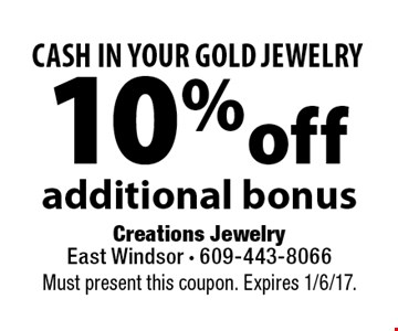 Cash in your gold jewelry! 10% off additional bonus. Must present this coupon. Expires 1/6/17.