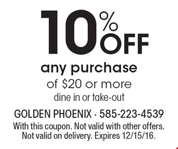10% Off Any Purchase Of $20 Or More. Dine in or take-out. With this coupon. Not valid with other offers. Not valid on delivery. Expires 12/15/16.