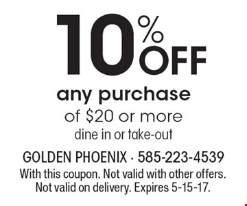 10% OFF any purchase of $20 or more. Dine in or take-out. With this coupon. Not valid with other offers. Not valid on delivery. Expires 5-15-17.