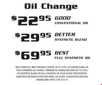 Oil Change $22.95 Good Conventional Oil OR $29.95 better Synthetic Blend OR $69.95 best Full Synthetic Oil. Most vehicles. Must present coupon. Up to 5 qts. of conventional oil for a standard oil change. Premium oil change includes up to 5 qts. of synthetic blend or full synthetic oil plus a four tire rotation. Canister/cartridge filter and diesel oil extra. Fluid/filter disposal charges may apply. EXP. 5/31/17.