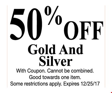 50% off gold and silver