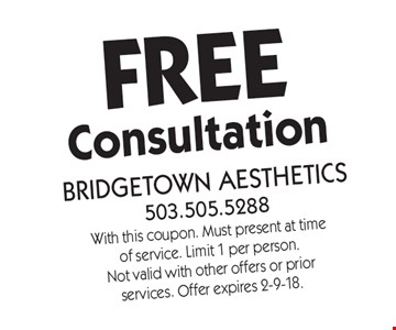 Free Consultation. With this coupon. Must present at time of service. Limit 1 per person. Not valid with other offers or prior services. Offer expires 2-9-18.