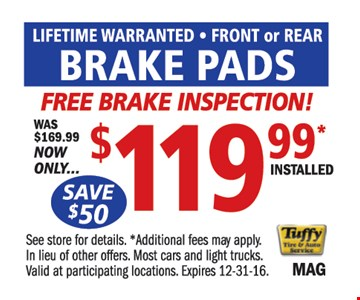 Brake pads $119.99