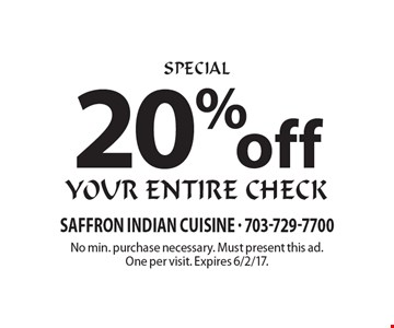 20% off your entire check. No min. purchase necessary. Must present this ad. One per visit. Expires 6/2/17.