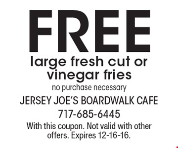 Free large fresh cut or vinegar fries. No purchase necessary. With this coupon. Not valid with other offers. Expires 12-16-16.