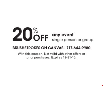 20% off any event, single person or group. With this coupon. Not valid with other offers or prior purchases. Expires 12-31-16.