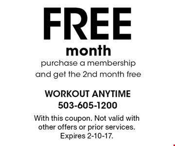 Free month purchase a membership and get the 2nd month free. With this coupon. Not valid with other offers or prior services. Expires 2-10-17.