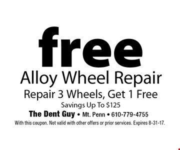 Summer Special. Free Alloy Wheel Repair. Repair 3 Wheels, Get 1 Free -  Savings Up To $125. With this coupon. Not valid with other offers or prior services. Expires 8-31-17.