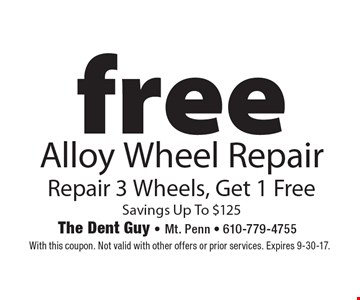 Free Alloy Wheel Repair Repair 3 Wheels, Get 1 Free Savings Up To $125. With this coupon. Not valid with other offers or prior services. Expires 9-30-17.
