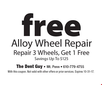 free Alloy Wheel Repair Repair 3 Wheels, Get 1 Free Savings Up To $125. With this coupon. Not valid with other offers or prior services. Expires 10-31-17.