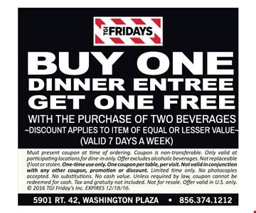 Buy One Dinner Entree, Get One Free