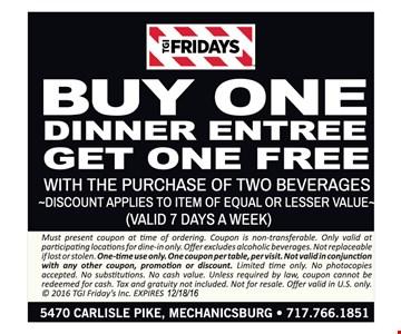 Buy one dinner entree get one free