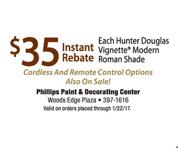 $35 instant rebate cordless and remote control options also on sale