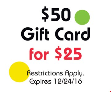 $50 Gift Card for $25