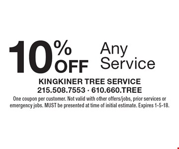 10% Off Any Service. One coupon per customer. Not valid with other offers/jobs, prior services or emergency jobs. Must be presented at time of initial estimate. Expires 1-5-18.