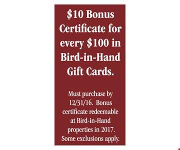 $10 Bonus Certificate