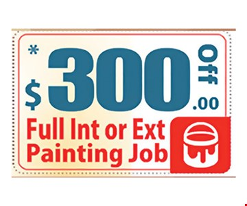 $300 off Full Int or Ext Painting Job. Expires 7/21/17.