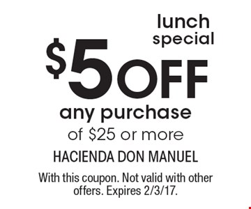 Lunch special! $5 Off any purchase of $25 or more. With this coupon. Not valid with other offers. Expires 2/3/17.