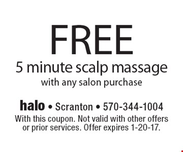 FREE 5 minute scalp massage with any salon purchase. With this coupon. Not valid with other offers or prior services. Offer expires 1-20-17.