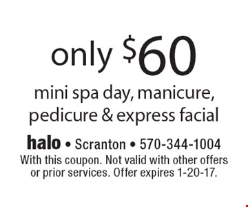 Only $60 mini spa day, manicure, pedicure & express facial. With this coupon. Not valid with other offers or prior services. Offer expires 1-20-17.