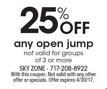 25% Off any open jump. Not valid for groups of 3 or more. With this coupon. Not valid with any other offer or specials. Offer expires 4/30/17.