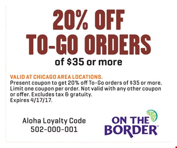 20% Off To-Go Orders Of $35 Or More