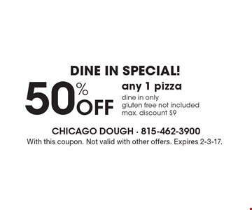 Dine in Special! 50% Off any 1 pizza. Dine in only. Gluten free not included. With this coupon. Not valid with other offers. Expires 2-3-17.